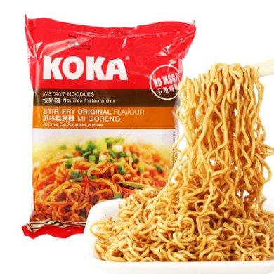 新加坡進口 KOKA可口原味干撈/香菇快熟素面/辣味星洲炒面 85g 方便面快熟面速食泡面袋裝