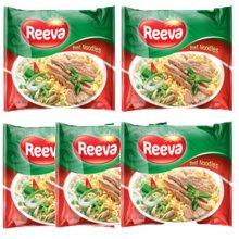 越南进口阮婆婆Reeva牛肉味便面即食65克*5袋/包*6/箱进口方便面30袋/箱