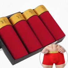【四条装礼盒】俞兆林 本命年 新款男士内裤平角内裤男人中腰四角透气内裤 红色内裤 Y58801-D