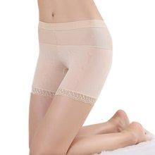 【三條裝】女士高腰收腹平角褲 網紗提花款純色打底安全褲 膚色 三條裝 Y93404