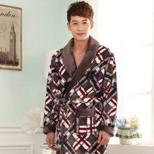 尼特名 法兰绒印花男士睡袍厚款舒适休闲家居服J013