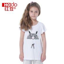 红豆童装女童儿童圆领白色短袖t恤女夏装棉质可爱麻赛尔短袖T恤  HD5306