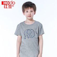 红豆男童睡衣夏季灰色短袖T恤衫圆领纯棉薄款儿童家居服卡通印花 HD6J03
