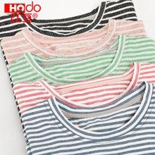 红豆2017夏季新款条纹儿童T恤上衣圆领男女童打底衫透气纯棉短袖  HD71003