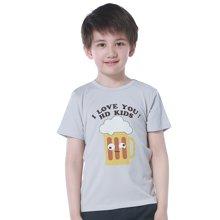 红豆童装灰色圆领白色印花休闲棉质混纺布夏装短袖T恤夏男儿童装 HD5307