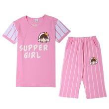 红豆女童短袖套装夏季新薄款棉质面料中大童小学生家居服T恤套装  HD71012