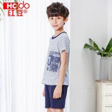 红豆男童短袖套装夏季薄款中大童小男孩T恤短裤宝宝短袖套装  HDY1701