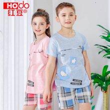 红豆儿童夏装套装新款儿童短袖家居服中大童夏季男孩女孩短袖 DY1707