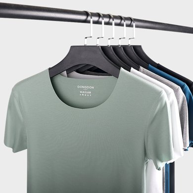 敦之盾男士無痕短袖T恤 2018夏季新款圓領純棉莫代爾修身V領打底6136-6137