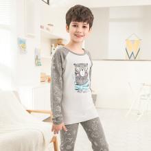紅豆新款兒童內衣套裝秋衣秋褲男童可愛小熊寶寶棉質保暖內衣薄款1808-8M2001