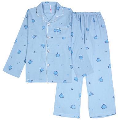 紅豆兒童春夏家居服套裝男童睡衣中大童寶寶長袖睡衣春秋薄款棉質空調服家居服