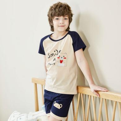 紅豆兒童睡衣男童棉質短袖睡衣套裝中大童夏季薄款家居服套裝 睡衣卡通睡衣H9J3051