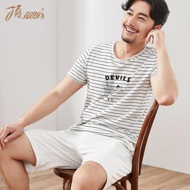 頂瓜瓜2019夏季新款日式條紋家居服套裝男性純棉短袖圓領睡衣薄款