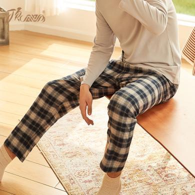 顶瓜瓜睡衣男秋冬纯棉家居裤 男士长裤情侣时尚格纹舒适磨毛睡裤
