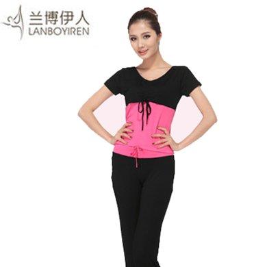 蘭博伊人新款春夏瑜伽服套裝女 健身愈加服舞蹈大碼兩件套L051+B010