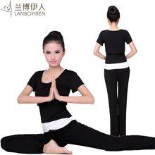 兰博伊人新款瑜伽服三件套短袖时尚愈加服韩版修身显瘦瑜珈服L096+L097+B010DX