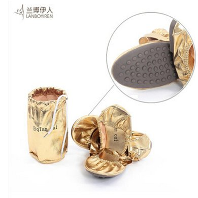 蘭博伊人金色牛筋軟底肚皮舞鞋舞蹈鞋練功鞋芭蕾舞鞋健美操鞋送鞋袋W006