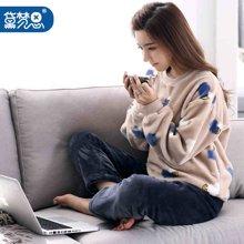 黛梦思珊瑚绒睡衣女冬季加厚韩版居家服长袖甜美可外穿家居服套装7916077