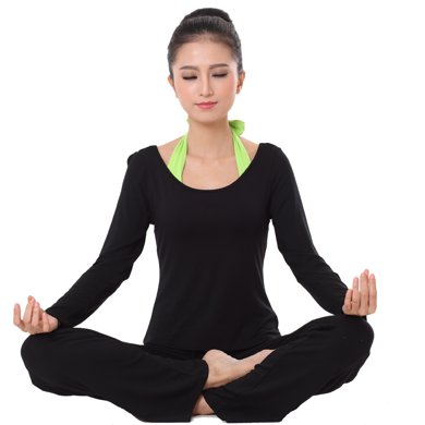 蘭博伊人新款瑜伽服三件套女長袖時尚后系掛脖愈加服舞蹈服練功服健身服L107B108B068CX
