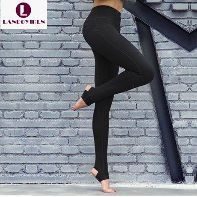 蘭博伊人專業跑步運動長褲女春夏緊身高腰踩腳瑜伽褲顯瘦提臀健身褲B6028