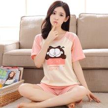 极有家 棉女士可爱套装韩版短袖夏季家居服.171012