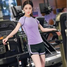 蘭博伊人新款瑜伽服套裝夏季跑步服女速干衣假兩件運動服短褲+短袖健身服女L5003+B7026