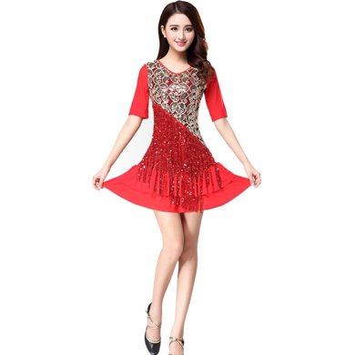 蘭博拉丁舞服裝女成人新款亮片流蘇演出表演練功服廣場舞服L63
