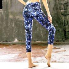 兰博伊人春夏印花瑜伽裤高弹力专业跑步训练健身舞蹈瑜珈运动七分裤B102
