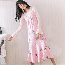 俞兆林 韩版睡裙女秋冬天长袖可爱钻石绒卡通女士睡衣长款裙子 yzl F7 M045