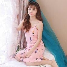 极有家 可爱睡裙女无袖背心宽松薄款睡衣吊带夏季家居睡裙.1710127