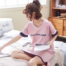 极有家 女韩版宽松可爱薄款连衣裙可外穿短袖夏季家居睡裙*1710130