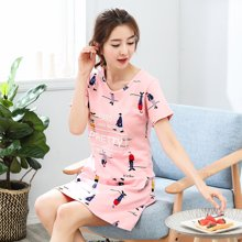 极有家 韩版女薄款连衣裙宽松睡衣短袖夏季家居睡裙*1710126