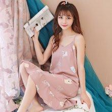 植木直 韩版清新性感中长款睡衣吊带夏季家居睡裙168058