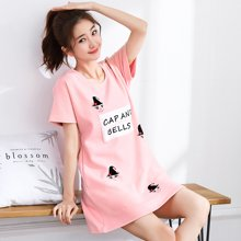 极有家 韩版睡衣宽松短裙子甜美卡通清新短袖夏季家居睡裙*1710125
