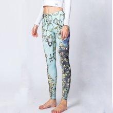 兰博伊人新款孔雀印花瑜伽九分裤户外健身裤运动健身瑜伽紧身裤女HK38