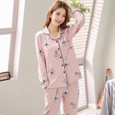 俞兆林 2019秋新款 女士印花睡衣棉質套頭睡衣 翻領開衫睡衣 睡衣 可外穿家居服 睡衣B8005