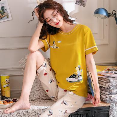 庫依娜內衣 女士睡衣套裝2019年夏季新款短袖七分褲可外穿舒適套裝家居服女 KYN1925