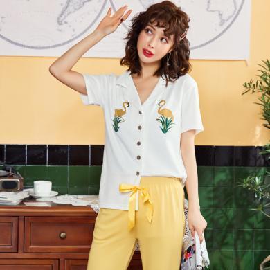俞兆林睡衣 韓版睡衣女夏季兩件套睡衣 短袖睡衣 七分褲薄款睡衣 家居服 睡衣 睡衣5508