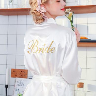 修允菲2019夏季仿真絲睡袍結婚化妝袍刺繡薄款開衫袍新娘晨袍TWP989