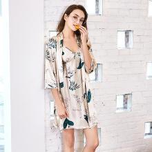 修允菲2019新款纺真丝睡袍女士夏季吊带中袖外袍丝绸家居套装TZ611