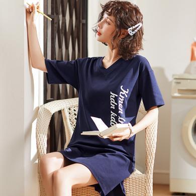 修允菲夏季女士卡通純棉睡裙可愛女士短袖睡裙連體居家睡衣CC2166