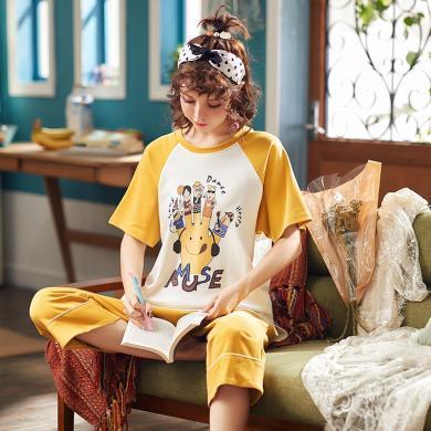 錦序夏季純棉圓領套頭卡通動漫寬松休閑短袖七分褲女士家居服套裝