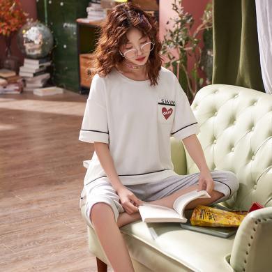 俞兆林夏季睡衣女夏季短袖七分褲薄款睡衣 夏天睡衣 家居服睡衣 睡衣 印花睡衣 睡衣QT5536