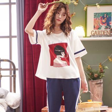 俞兆林睡衣女士夏季新款七分褲短袖短褲睡衣 可愛卡通薄款睡衣 家居服睡衣 夏睡衣 睡衣 睡衣QT5532