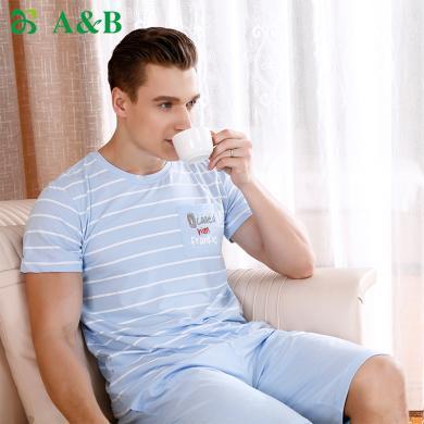 A&B男士睡衣春夏彈力棉條紋短袖中褲棉質休閑男士家居套裝(G883)