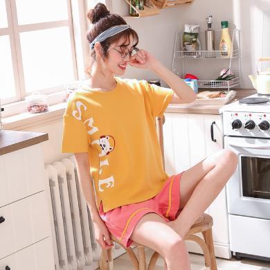 耀婷純棉短袖韓版家居服可愛卡通夏季少女士短褲運動睡衣套裝906