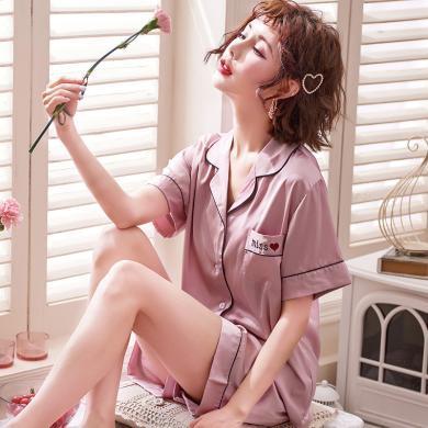 库依娜内衣 女士丝绸睡衣夏季短袖短裤冰丝家居服套装仿真丝翻领开衫女睡衣 KYN818