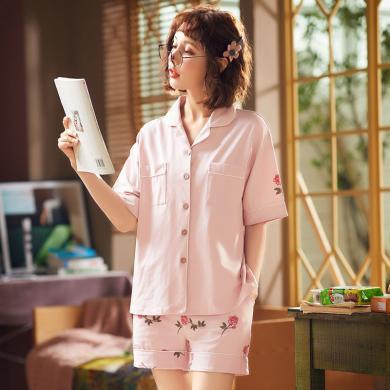 俞兆林 新款棉質印花睡衣 淺色女睡衣 短款睡衣 卡通印花薄款睡衣 家居服 睡衣QT5527