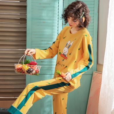俞兆林 秋季小白兔印花睡衣 女睡衣棉質 睡衣 家居服睡衣 睡衣 睡衣家居服 印花睡衣YG5145