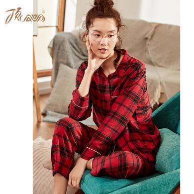 頂瓜瓜秋冬新品純棉磨毛舒適紅色格子長袖長褲套裝女家居服套裝圣誕